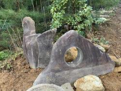 根府川石の景石とオブジェ